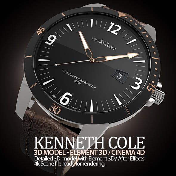 Kenneth Cole Watch 3D Model for Element 3D & Cinema 4D