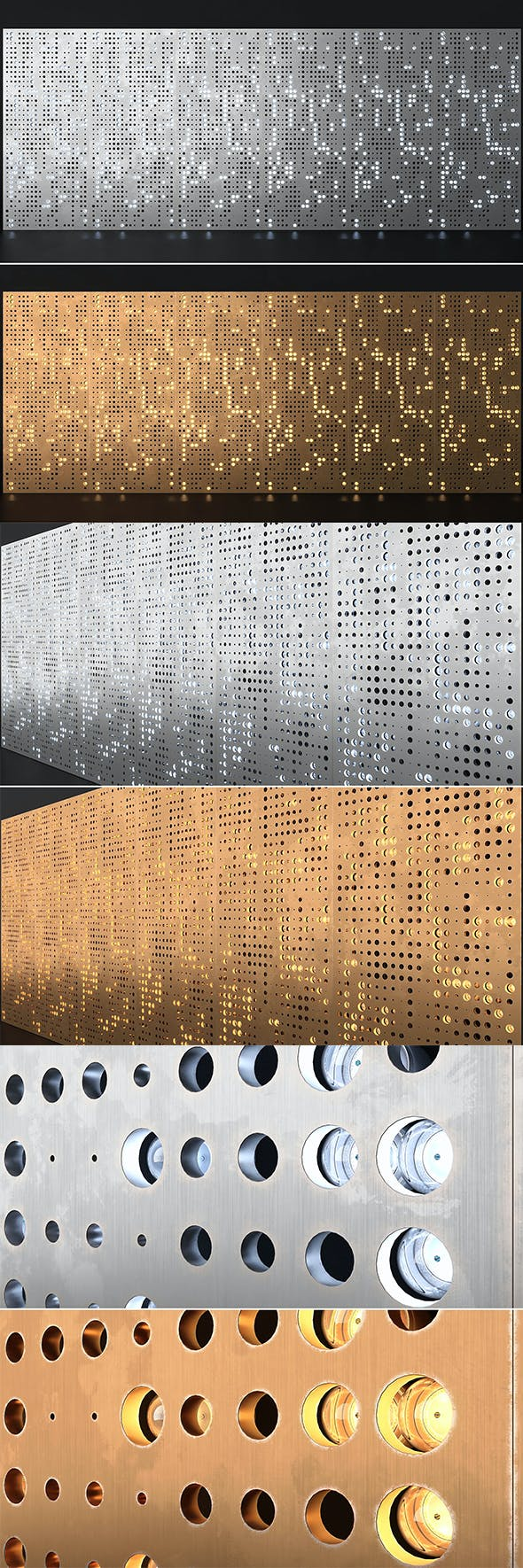 Perforated Wall Panels - 3DOcean Item for Sale