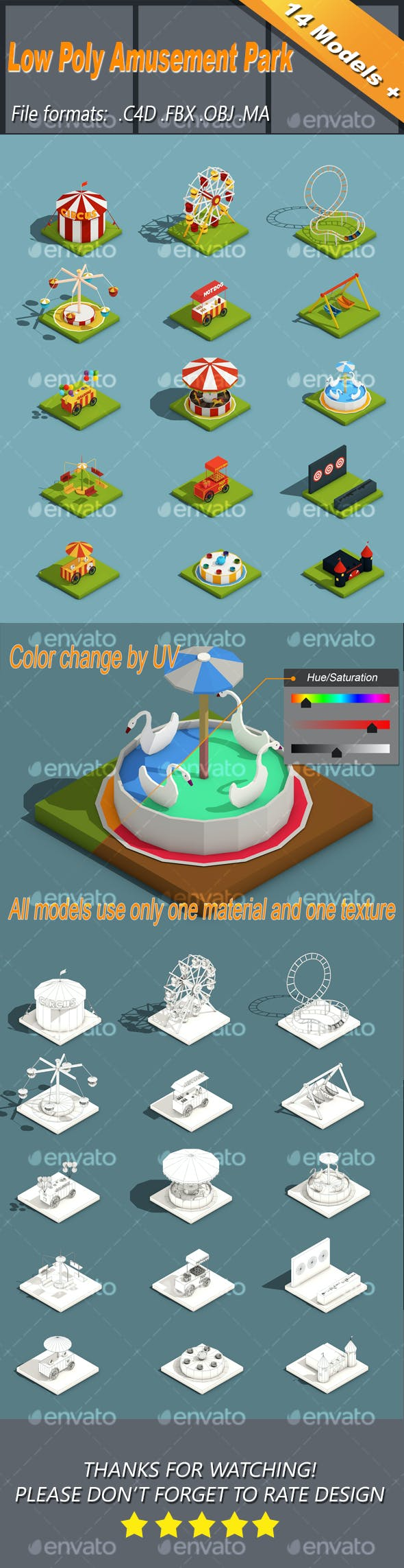 Low Poly Amusement Park Isometric Icon - 3DOcean Item for Sale