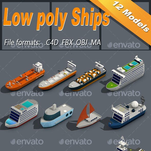 Low poly Ships Isometric Icon Pack 01
