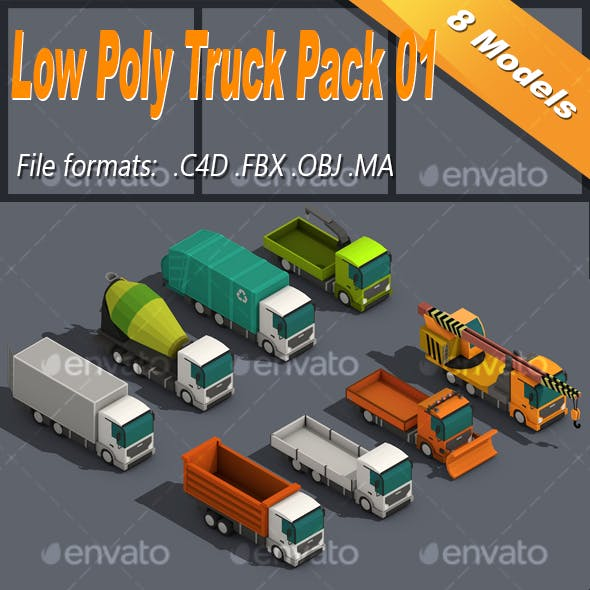 Low Poly Truck Pack 01 Isometric Icon