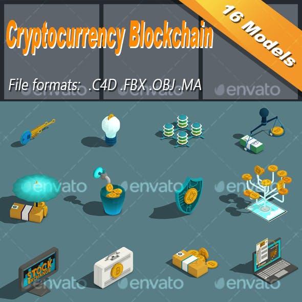Low Poly Cryptocurrency Blockchain Isometric Icon