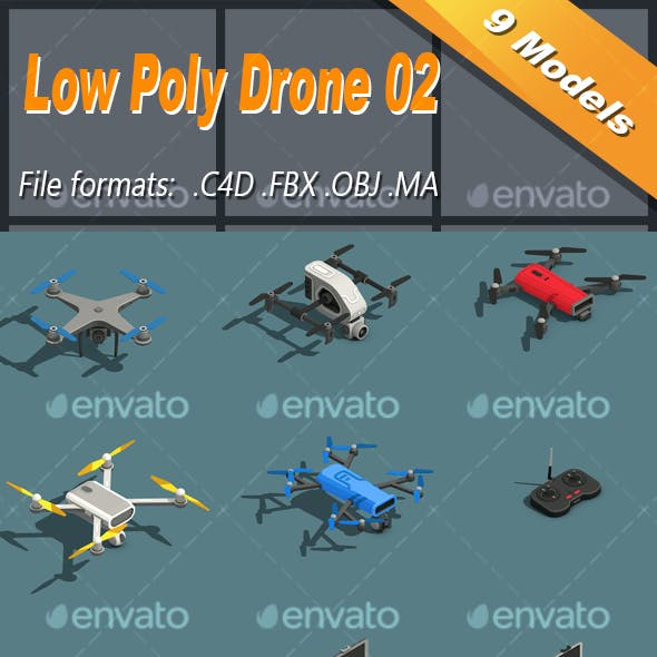 Low Poly Drone Isometric Icon