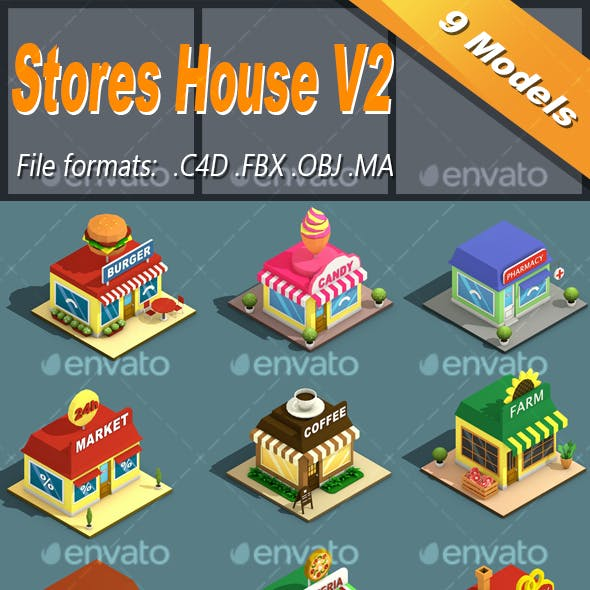 Low Poly Stores House Isometric Icon V2