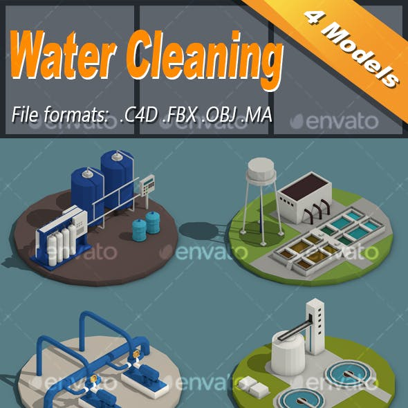Low Poly Water Cleaning Isometric Icon
