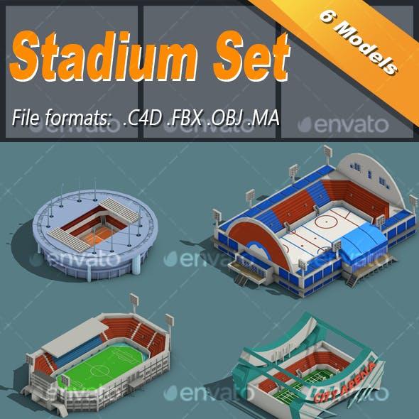 Low Poly Stadium Set Isometric Icon
