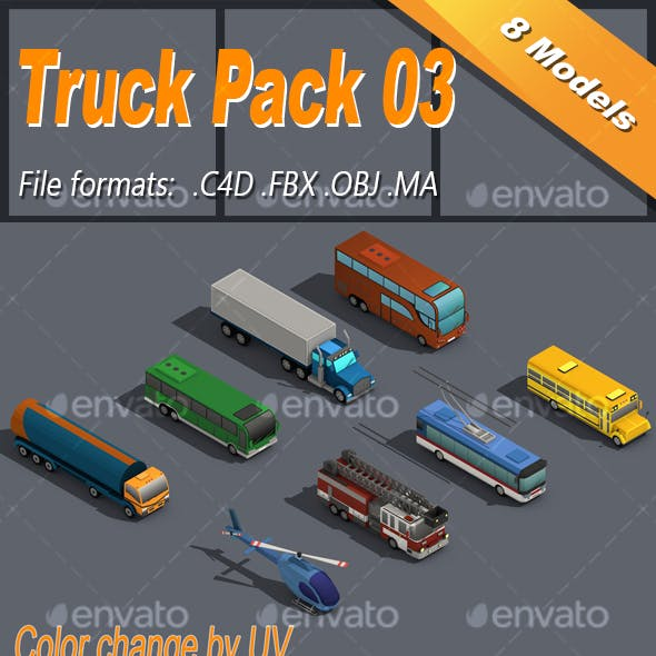 Low Poly Truck Pack 03 Isometric Icon