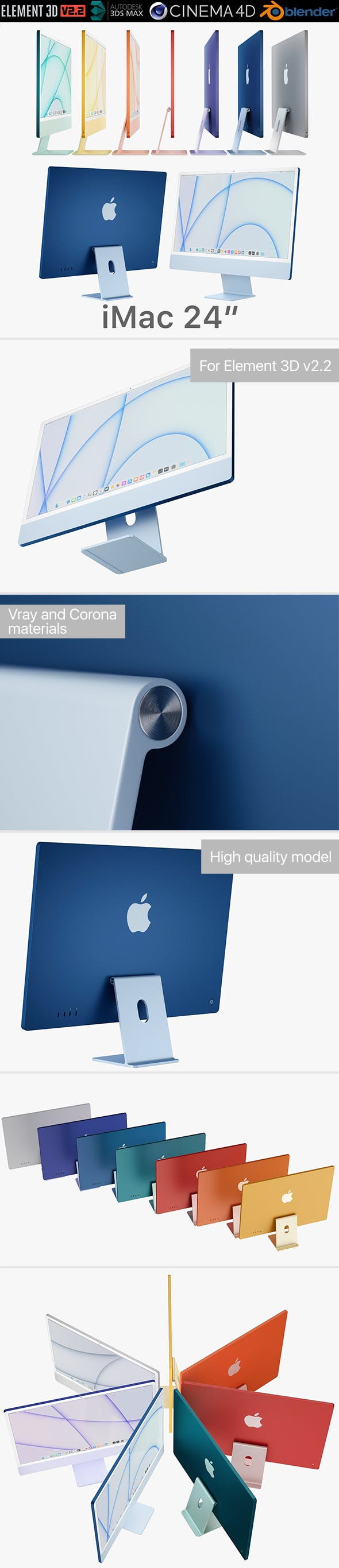 Apple iMac 24-inch 2021 all colors - 3DOcean Item for Sale