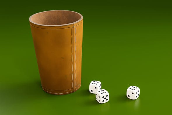 dice with leather cup - 3DOcean Item for Sale