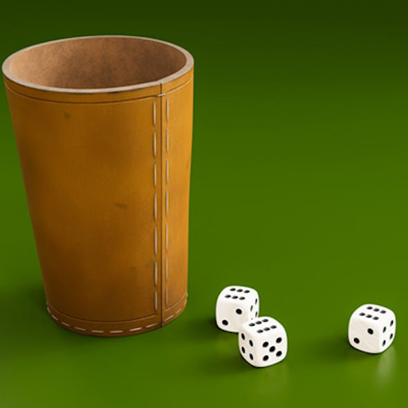 dice with leather cup