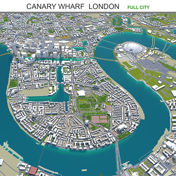 Canary Wharf  city London 3d model 5km - 3DOcean Item for Sale