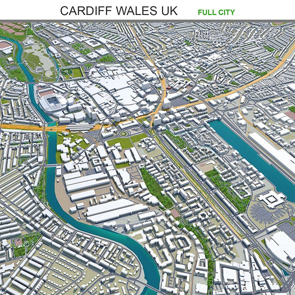 Cardiff Wales city UK 3d model 30 km - 3DOcean Item for Sale