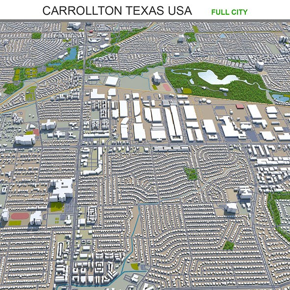 Carrollton city Texas USA 3d model 25km - 3DOcean Item for Sale