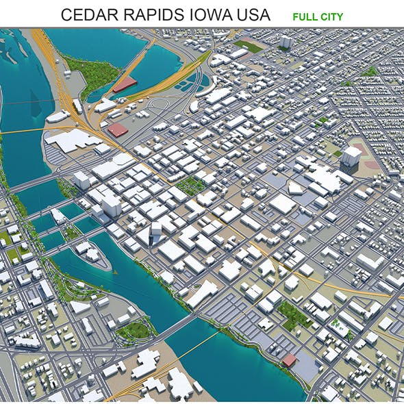 Cedar Rapids city Iowa USA 3d model 30km - 3DOcean Item for Sale