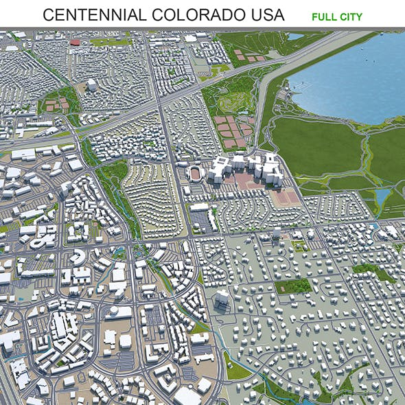 Centennial city Colorado USA 3d model 40km - 3DOcean Item for Sale