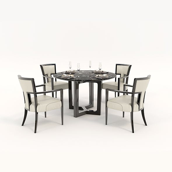 Contemporary Design Table and Chair Set 12 - 3DOcean Item for Sale