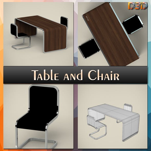 Table and Chair - 3DOcean Item for Sale
