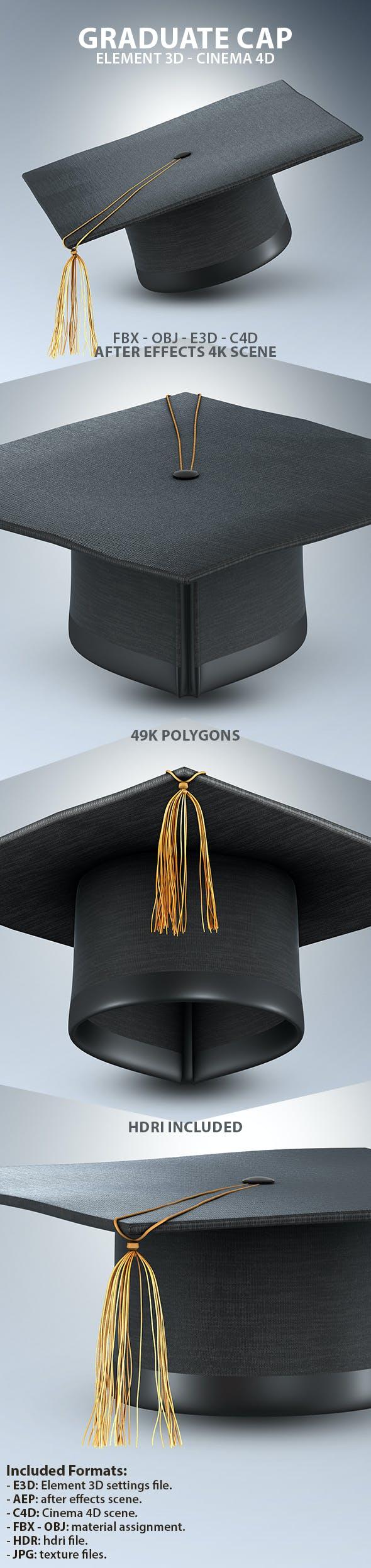 Graduate Cap 3D Model for Element 3D & Cinema 4D - 3DOcean Item for Sale