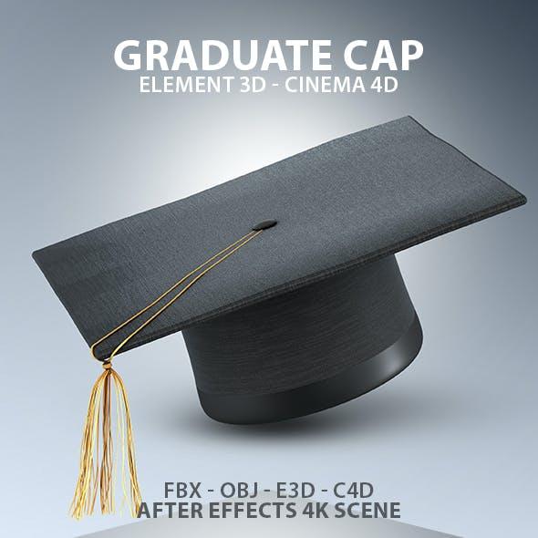 Graduate Cap 3D Model for Element 3D & Cinema 4D