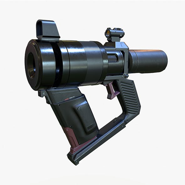 High Poly Sci-fi Revolver PBR