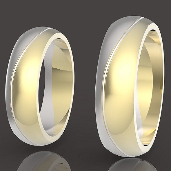 2 wedding rings set two-piece assembly 3D print model