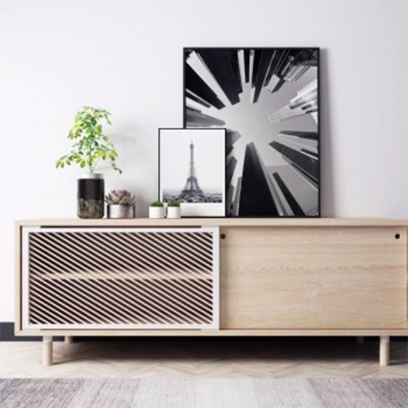 Modern wooden table with decoration - 3DOcean Item for Sale
