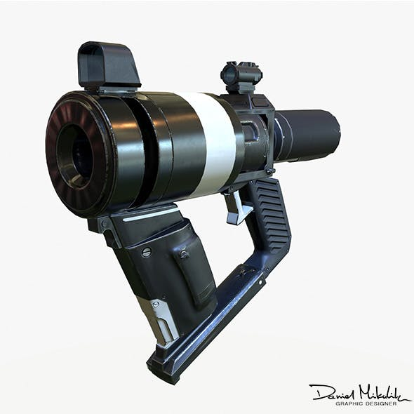 Low Poly Sci-Fi  Revolver PBR - 3DOcean Item for Sale