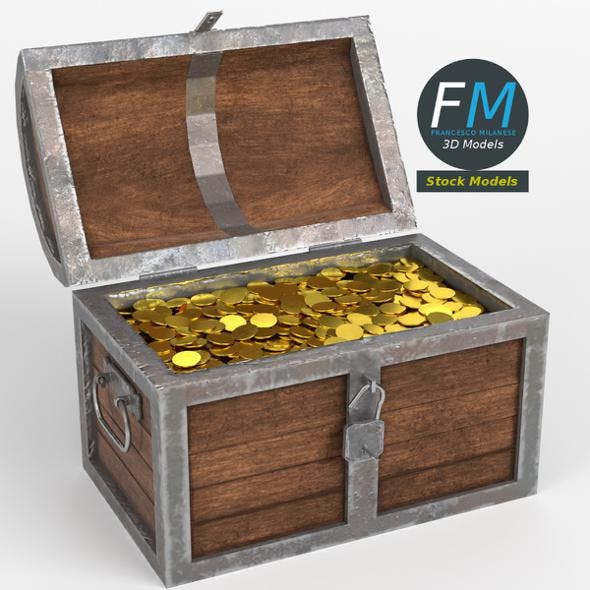 Treasure chest with padlock and coins