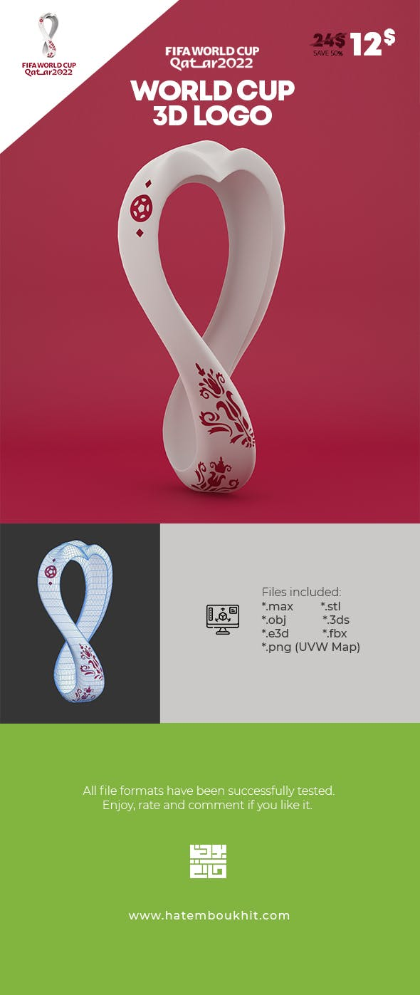 Logo World Cup Qatar 2022 3D Model - 3DOcean Item for Sale