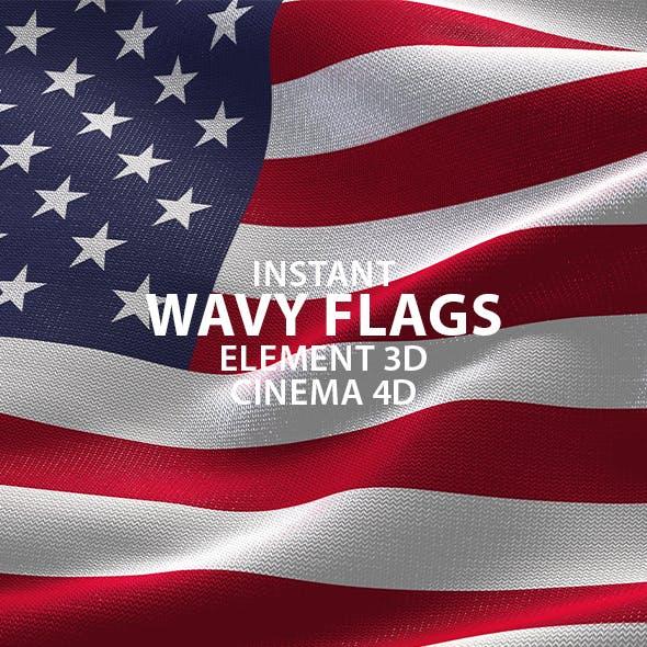 Waving Flag 3D Scenes for Element 3D & Cinema 4D
