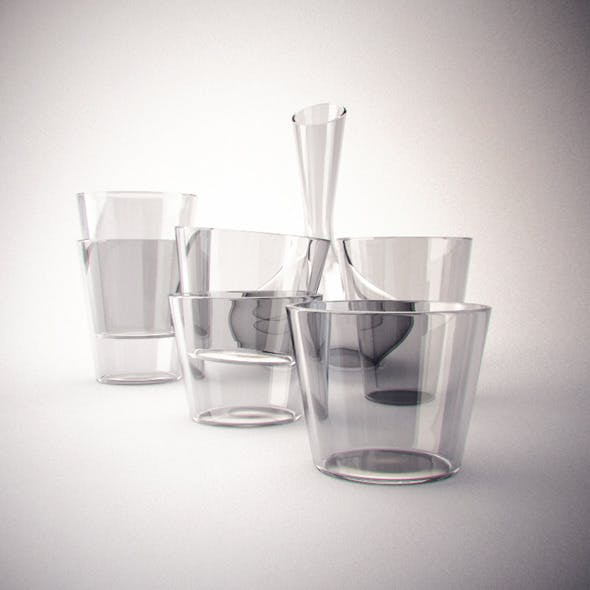 Realistic Decanter glass set - 3DOcean Item for Sale