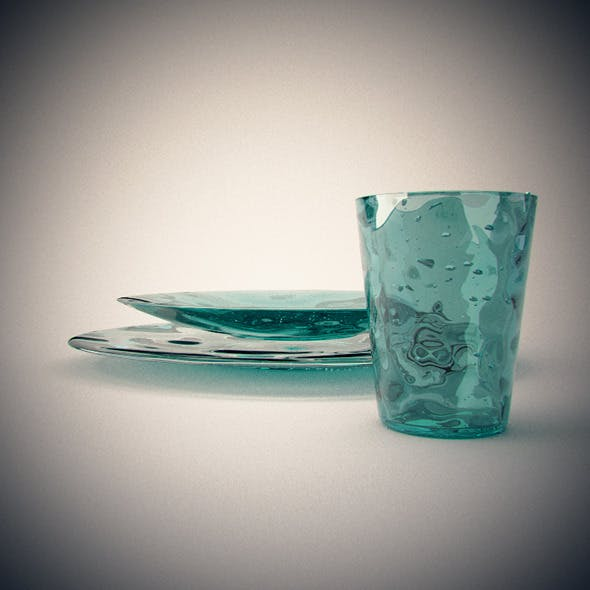 Realistic Blown Glass dishes and glass - 3DOcean Item for Sale