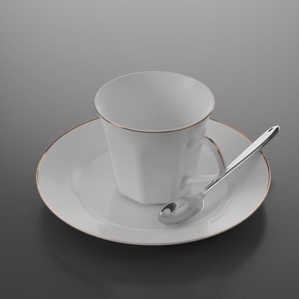 Coffee cup, plate and spoon