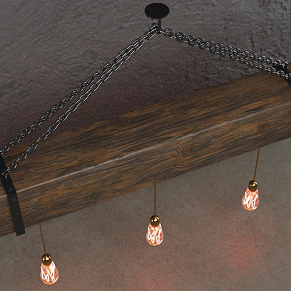 Wooden chandelier with forging elements and incandescent lamps