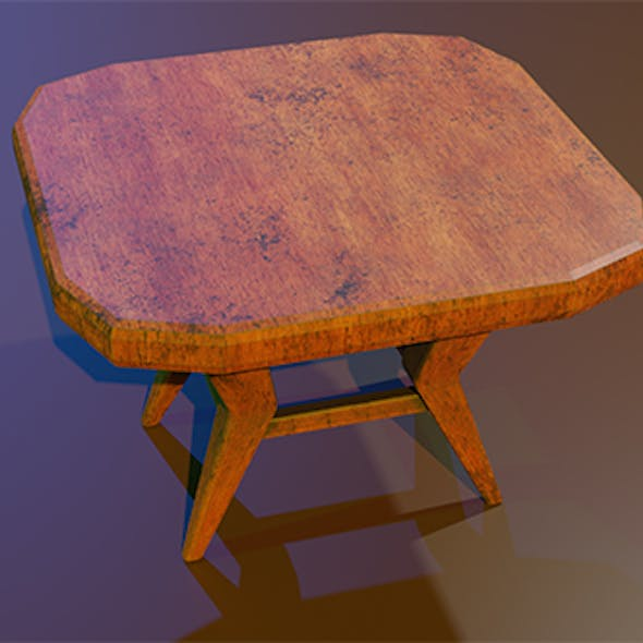A wooden chair with scuffs and abrasions