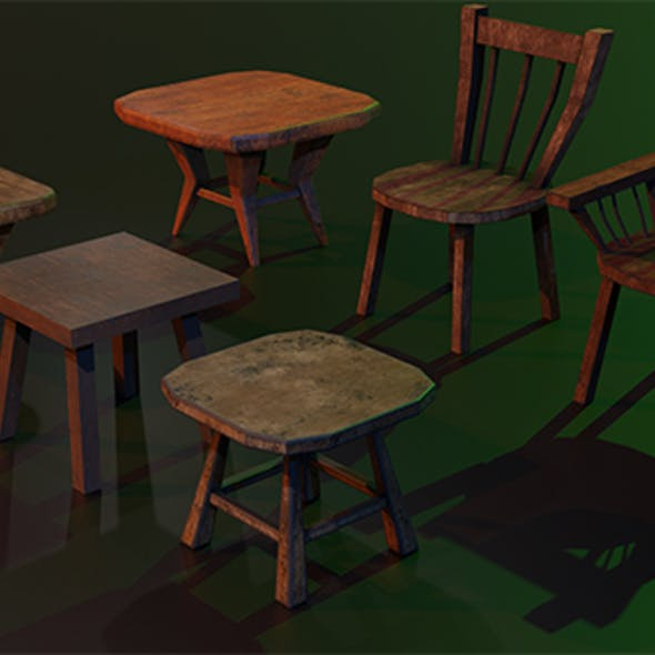 A set of wooden chairs with scuffs and abrasions