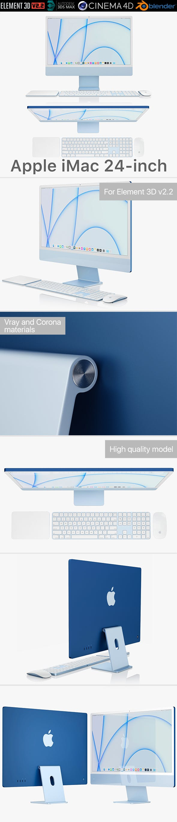 Apple iMac 24-inch 2021 full set 2 - 3DOcean Item for Sale