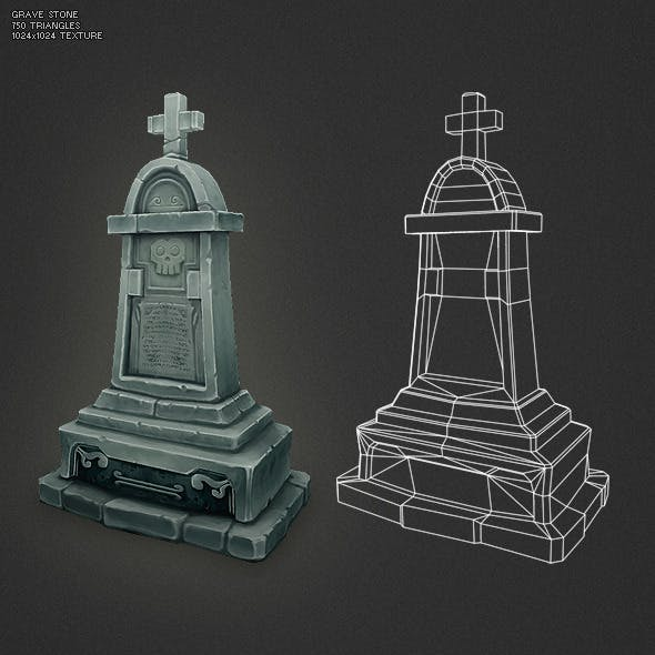 Low Poly Grave Stone 04