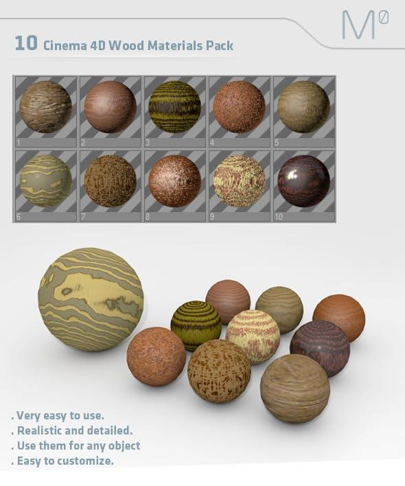 10 C4D Wood Materials Pack - 3DOcean Item for Sale