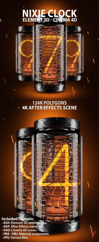 Nixie Clock for Element 3D & Cinema 4D - 3DOcean Item for Sale