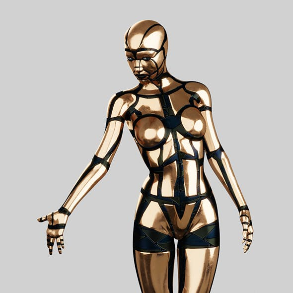 Golden Female Robot (Fully Rigged)