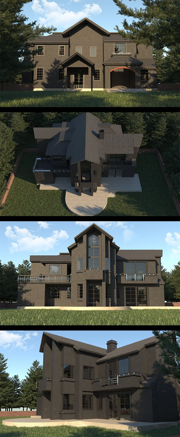 Realistic Black Villa Design - 3DOcean Item for Sale