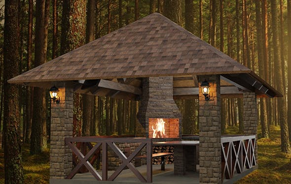 Detailed gazebo with fireplace and lighting - 3DOcean Item for Sale