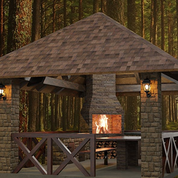 Detailed gazebo with fireplace and lighting