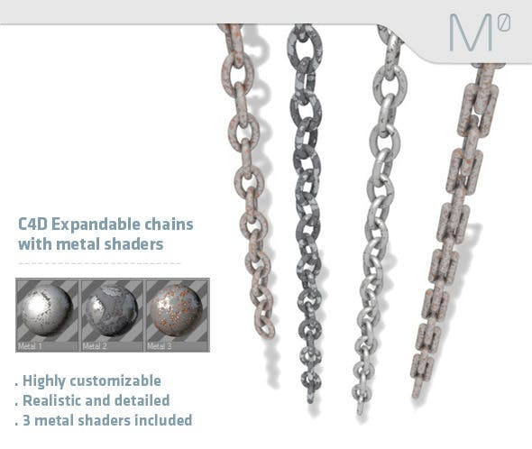 C4D Expandable Chains With Metal Shaders - 3DOcean Item for Sale