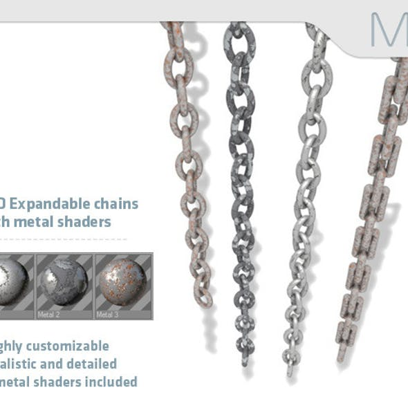 C4D Expandable Chains With Metal Shaders