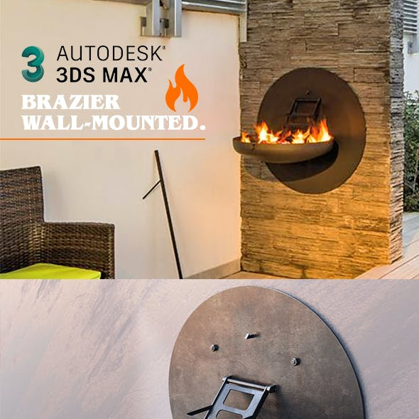 Brazier wall-mounted. Retractable wall-mounted barbecue with accessory. Grill stove.