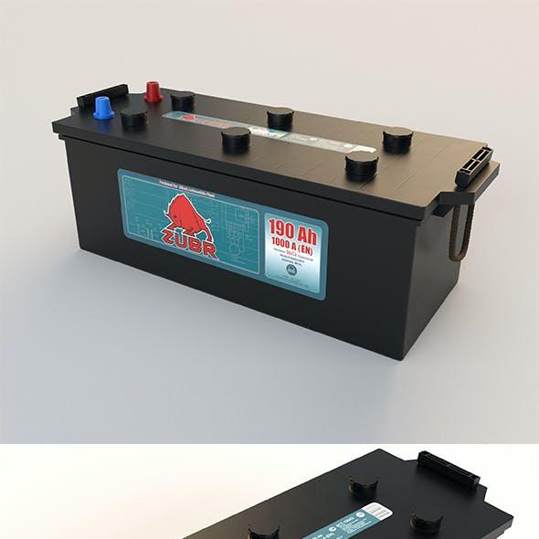 Accumulator battery for car. Big battery truck. Acid battery 12 volts supply, black color.