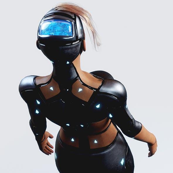 Futuristic Woman Machine PBR (Fully Rigged)