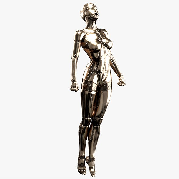 Silver Female Robot (Fully Rigged)